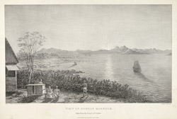 'View of Bombay Harbour, taken from the Island of Colaba'.  Uncoloured lithograph by W. Watson from C. Head's Eastern and Egyptian Scenery  London, 1833.  Printed by C. Hullmandel.